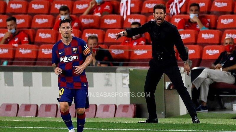 Diego Simeone mong muốn được chỉ đạo Messi. (Ảnh: Twitter)